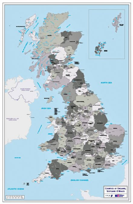 County Map of England, Scotland and Wales